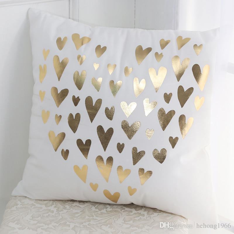 Funda de Almohada Amor Corazón Dorado Dormitorio Oficina Almohada de almohada Ropa de Cama Suministros de Decoración de Personajes Funda de Almohada Para Regalo 7 5ty C R