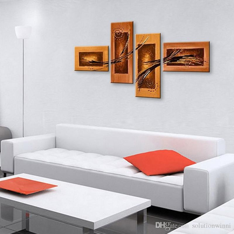 Hand Painted Oil Painting For Living Room Abstract Line Graffiti Paintings Acrylic Canvas Art Modern Home Decor 4 Panel Pictures