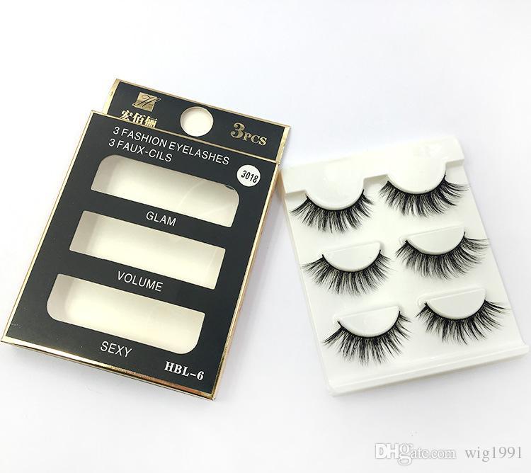 В 3D норки волос ресницы 3 пара/пакет натуральный длинный мягкий черный 3D ресницы макияж ручной толстая поддельные накладные ресницы высокого качества