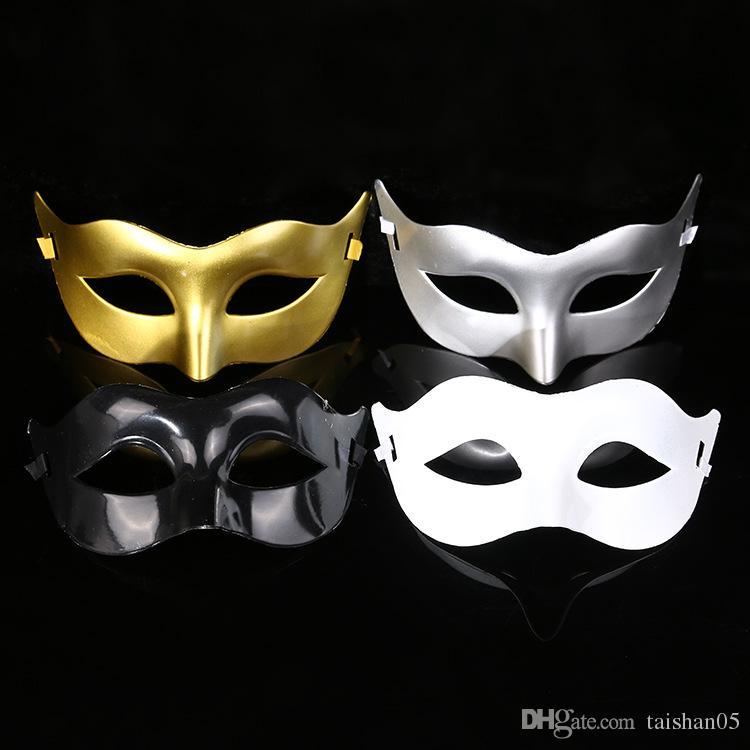 Máscara de disfraces masculinos Disfraces Máscaras venecianas Máscaras de disfraces Máscara de plástico media cara Multicolor opcional Negro, Blanco, Oro, Plata