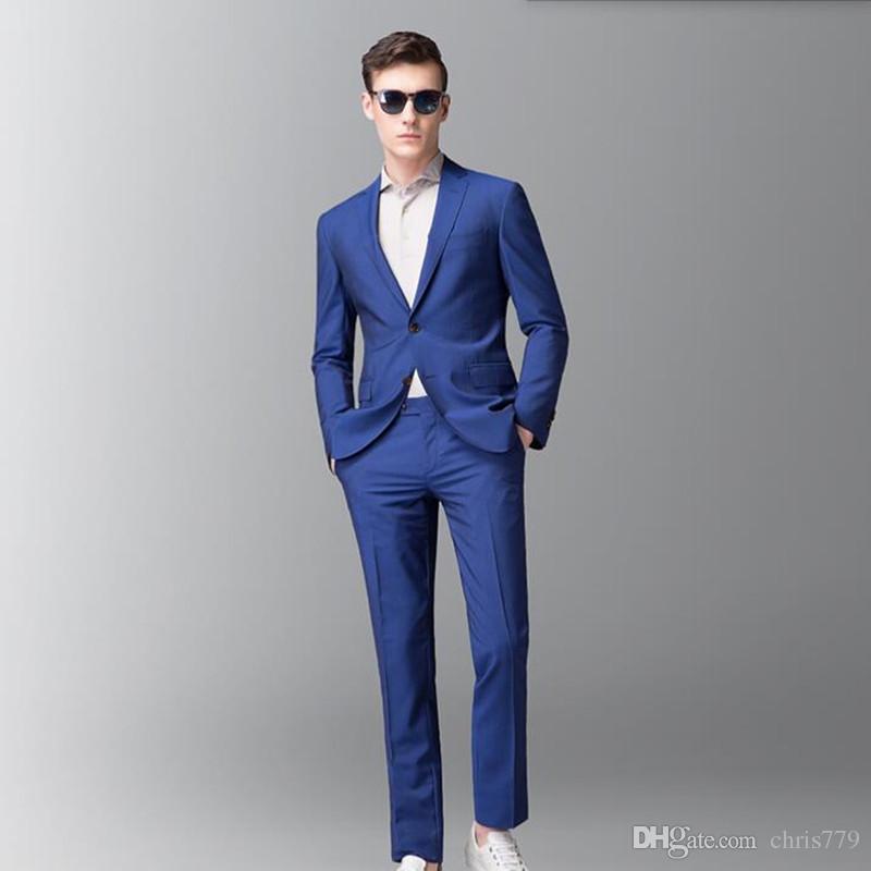 b4378068b Compre Trajes Para Hombres Azul Real Para Hombres Trajes Para Bodas Trajes  De Esmoquin Últimos Trajes De Traje De Fiesta Para Padrinos Y Trajes De  Fiesta ...
