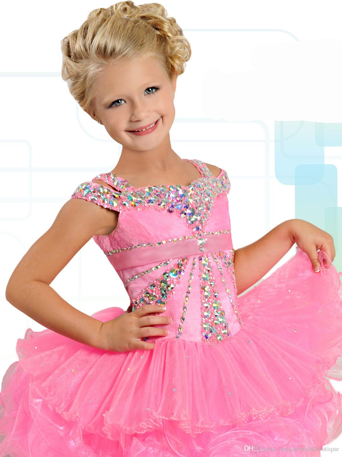 Ritzee Girls B739 AB Crystal Bodice Cupcake Pageant Dresses for Little Girls 2019 Beautiful Ruffles Pink Organza Girls Tutu Dress