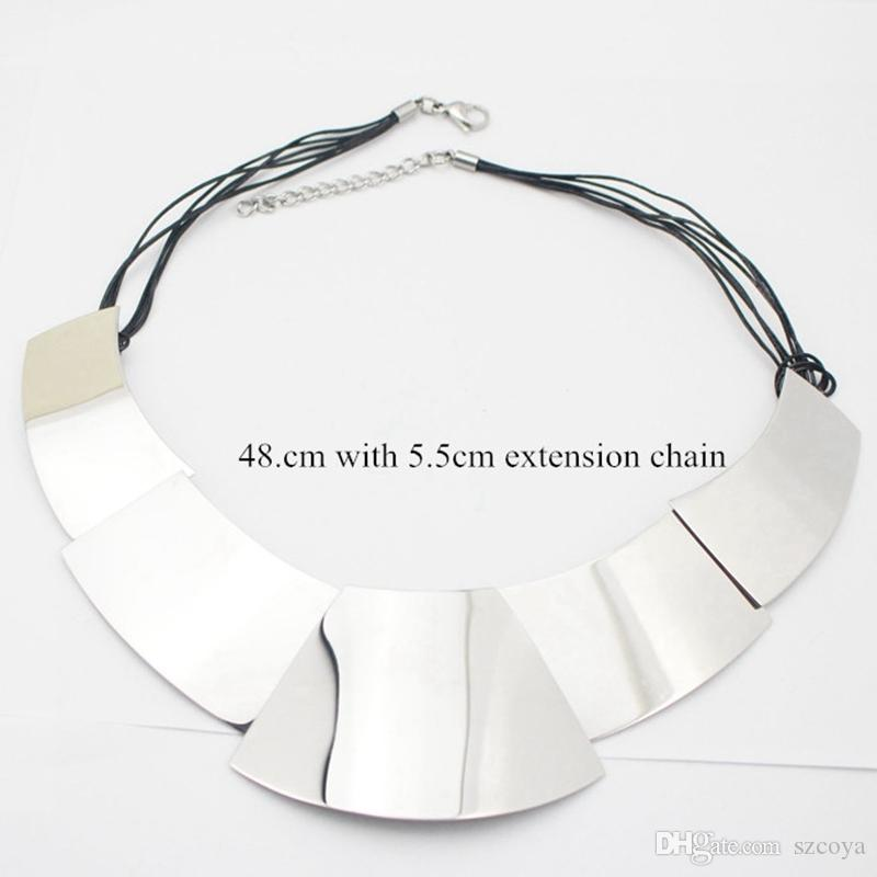 New Silver Color Collar Necklaces Pendants Fashion Statement Metal Choker Necklace For Women Fine Jewelry Collar Choker
