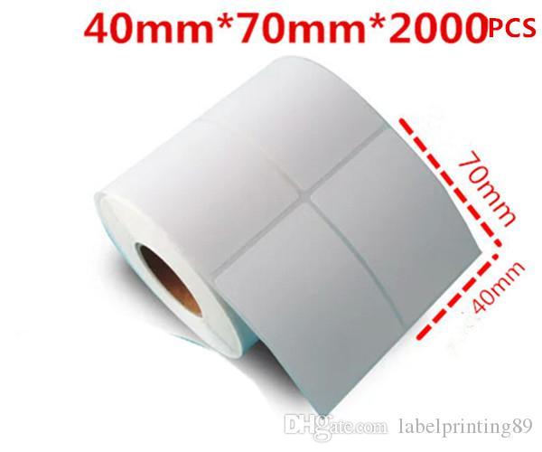 40 * 70mm / rouleau d'étiquettes vierges Papier de bureau Code à barres auto-adhésives pour imprimante