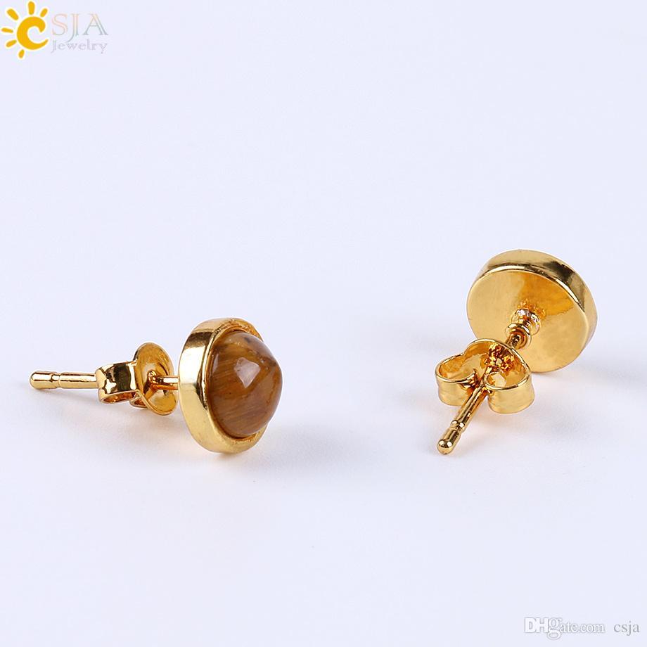 Csja 2017 المصنع مباشرة بيع الذهب مدي إعداد الطبيعية الأحجار الكريمة الخرزة الصغيرة وأقراط للنساء ثقب المجوهرات مع حلق العودة e596