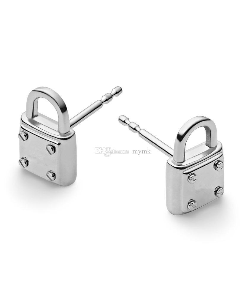 New York Fashion Tone padlock stud earrings letters earrings brand Wedding Jewelry for women silver/gold/rose gold