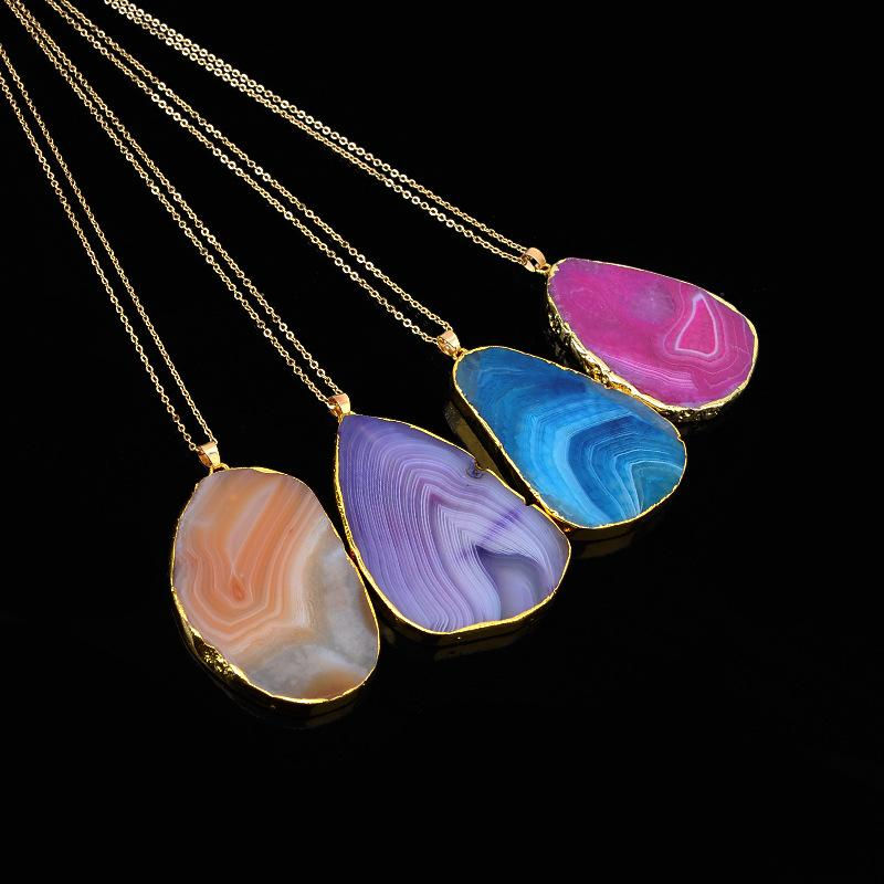 Natural rough stone cutting grain crystal pendant necklace gold chain necklace sweater chain