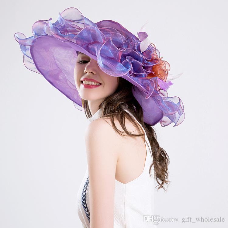 Alta calidad elegante gasa fina sombrero de ala grande fiesta de la iglesia sombreros de la boda sombrero de la manera sombreros del sol es