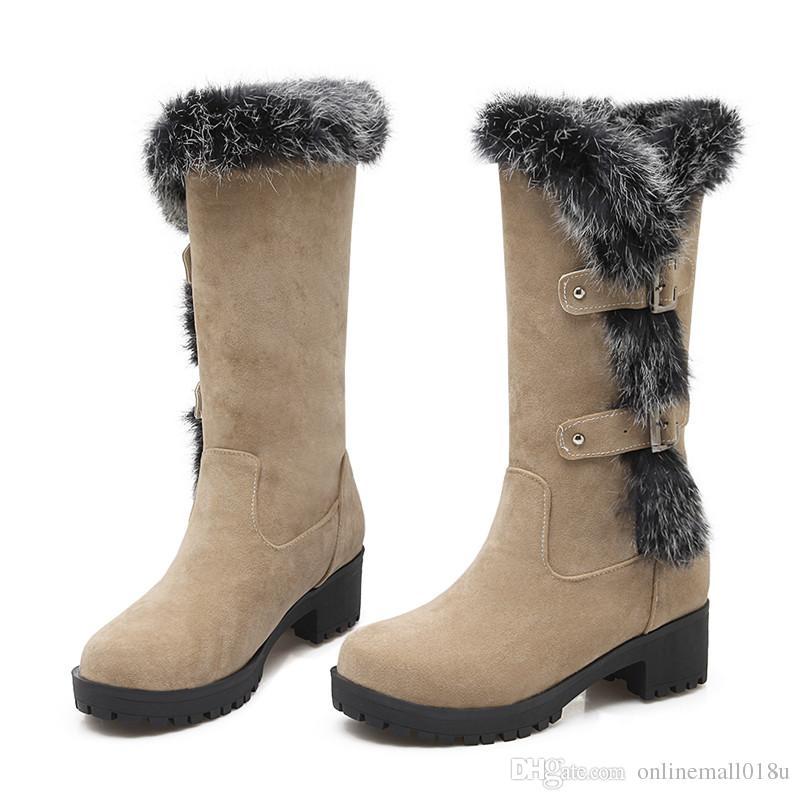 flock buckle winter new arrive women boots black wine red Army green mid calf boots med heel platform big size 34-43