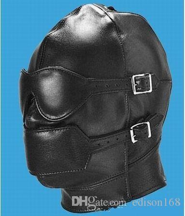 Hot Sex Produkt Ny Mjukt Läder Bondage Face Mask EyePatch Gagged HeadGear Vuxen BDSM Sex Toy Bed Speluppsättning