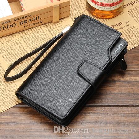 Europa Amerikanischer Heißer Verkauf Männer Brieftaschen Schwarz Braun Große Lange Reißverschluss Design Qualität Leder Kreditkarteninhaber Clutch Geldbörse Brieftasche