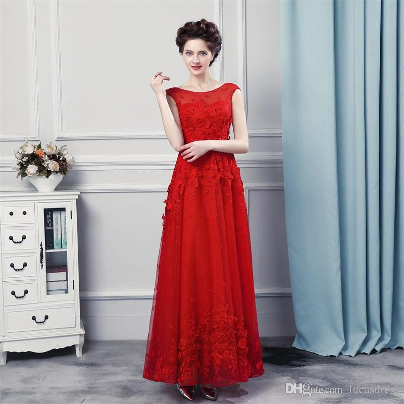 Hot Red Color Evening Dresses 2018 Women Party Gowns Floor Length ...