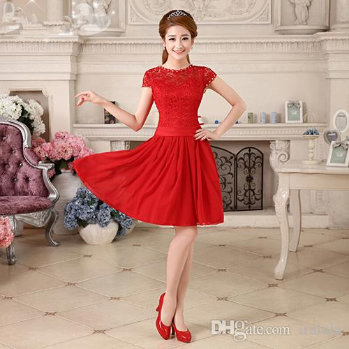 Free Shiping Short Lace Latest Elegant Red Gown Designs Dresses ...