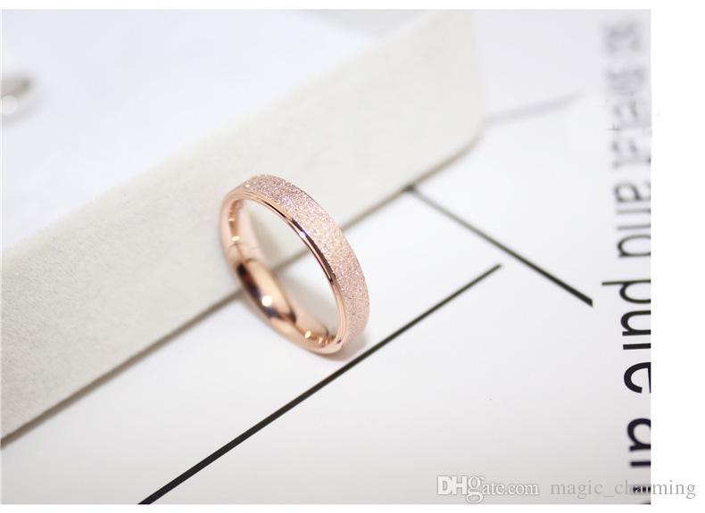 Gül Altın Kaplama Titanyum Çelik Basit Buzlanma Güzel 4mm Ucuz Kadınlar Yüzük, ABD Boyutu 3 için Size10 mevcut küçük halka boyutu 3