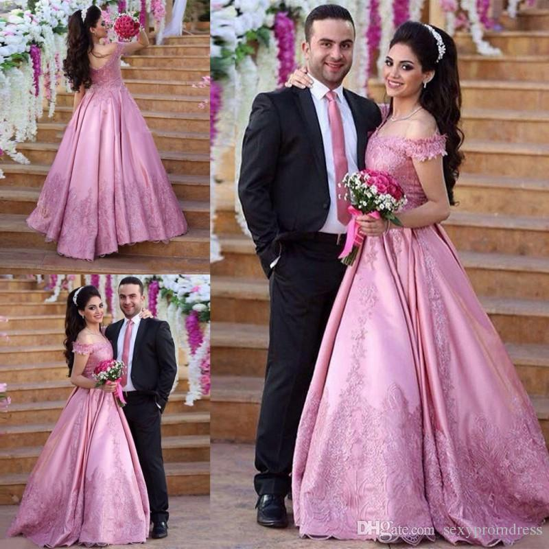 Saudi Arabia Pink Off Shoulder Prom Dresses Lace Applique Floor ...