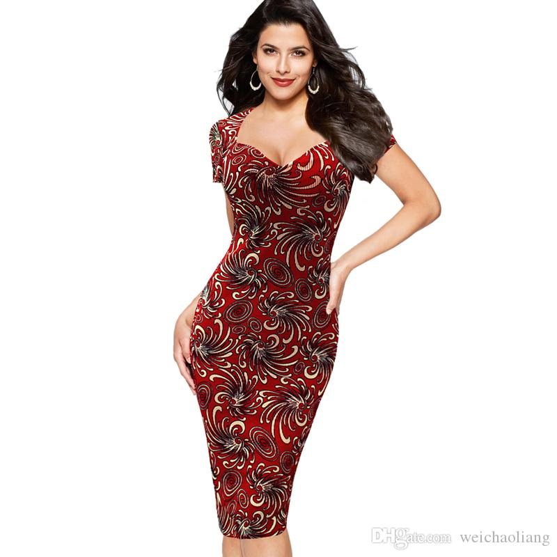f2fd1aa8d3028 Lcw New Design Womens Sexy Elegant Vintage Retro Floral Flower Print Pinup  Casual Party Club Evening Bodycon Pencil Sheath Dress