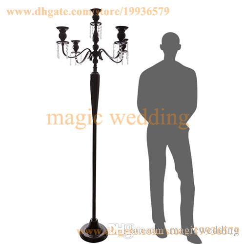 5ft Tall 5 Arm White Gold Silver Floor Candelabra with hanging crystal bead For Home Party Decoration