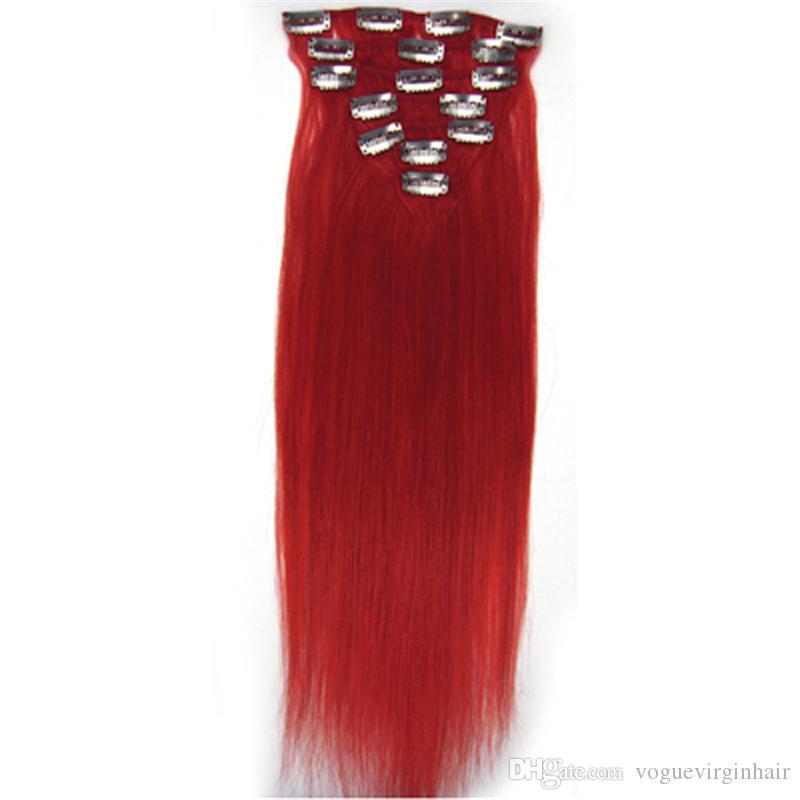 브라질 머리카락 확장 클립에서 빨간 브라질 헤어 클립 클립에 인간의 머리카락 연장 있음