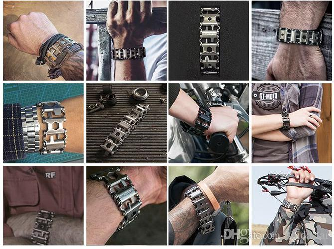 2 Colors Leatherman Tread Bracelet Travel Friendly Wearable Multitool Outdoor Camping Hunting Survival Multifunction EDC Tools Xmas Gift