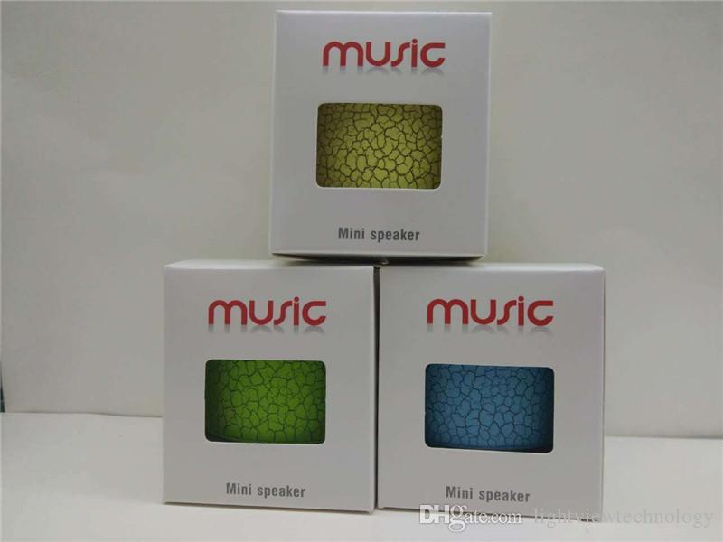 Mini Portable Crackle Texture Bluetooth Haut-Parleur Sans Fil avec LED Support U Disque TF Carte Lecteur de Téléphone Portable avec Boîte Au Détail