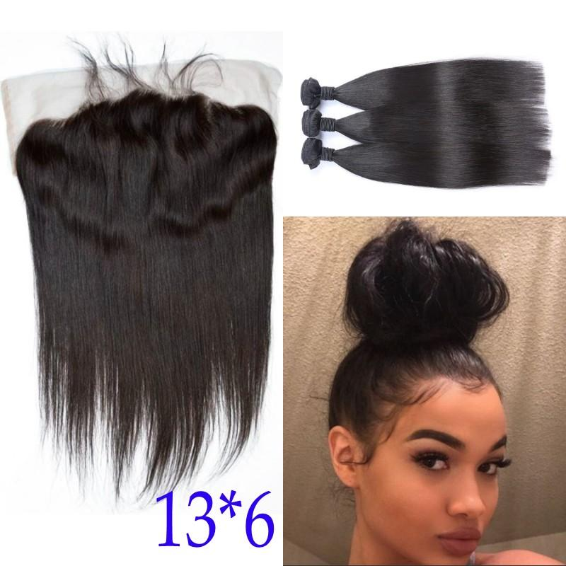 Unprocessed Brazilian Straight Hair with Closure 3 Bundles Human Hair With Lace Frontal Closure 13x6 Fast Shipping FDSHINE