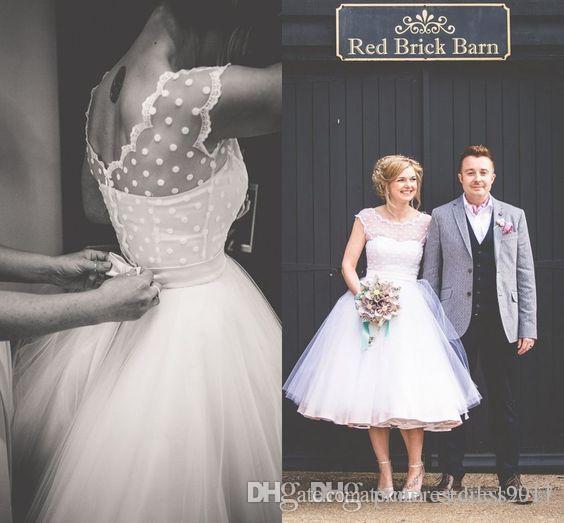 2098b235b40 Polka Dot Wedding Dresses Tea Length Little White