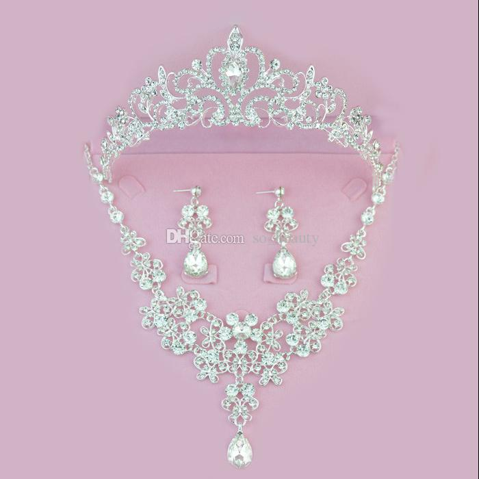 Twinkling Floral Bridal Crown Necklace Earrings Set Tiaras Bridal Jewelry Accessories Wedding Party Sets S003 Ear Needle or clip