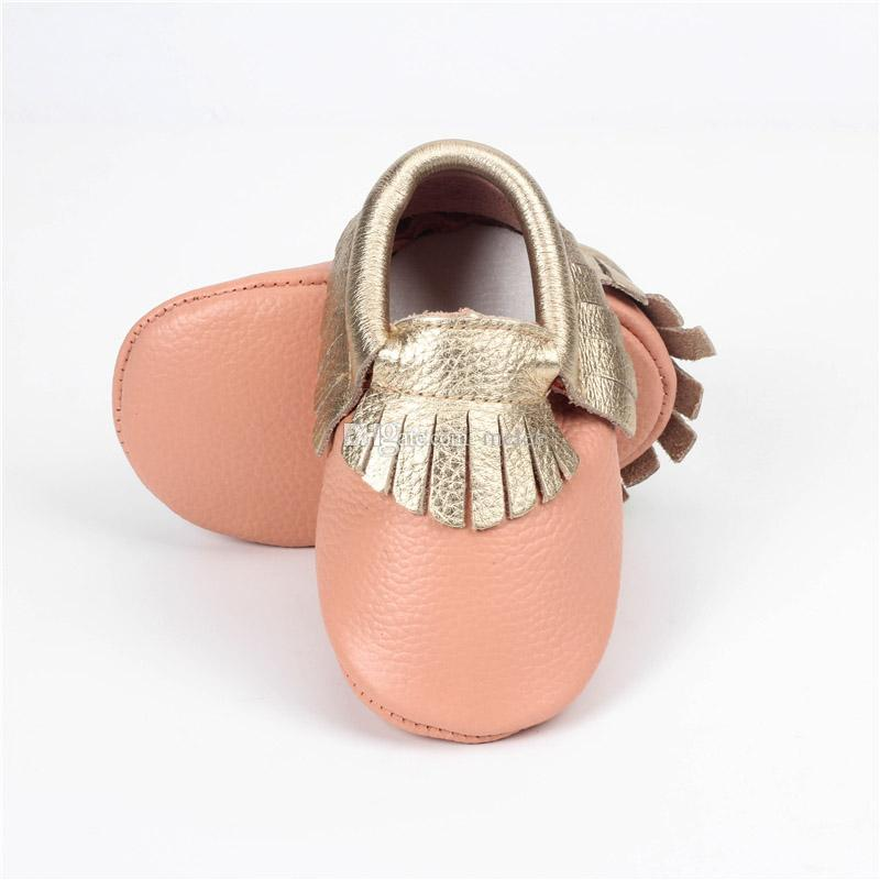 No Lead Included New Genuine Leather Baby Moccasins Cow Leather Double Colors Tassels First Walking Shoes Soft Sole Infant Toddler Shoes