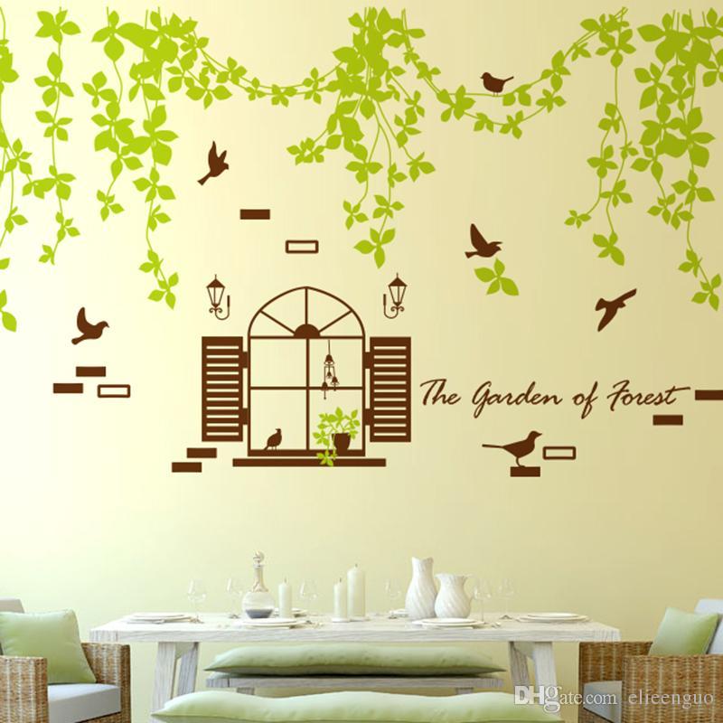 Fake Window Green Rattan Wall Stickers Creative Wall Decals Diy Tree ...
