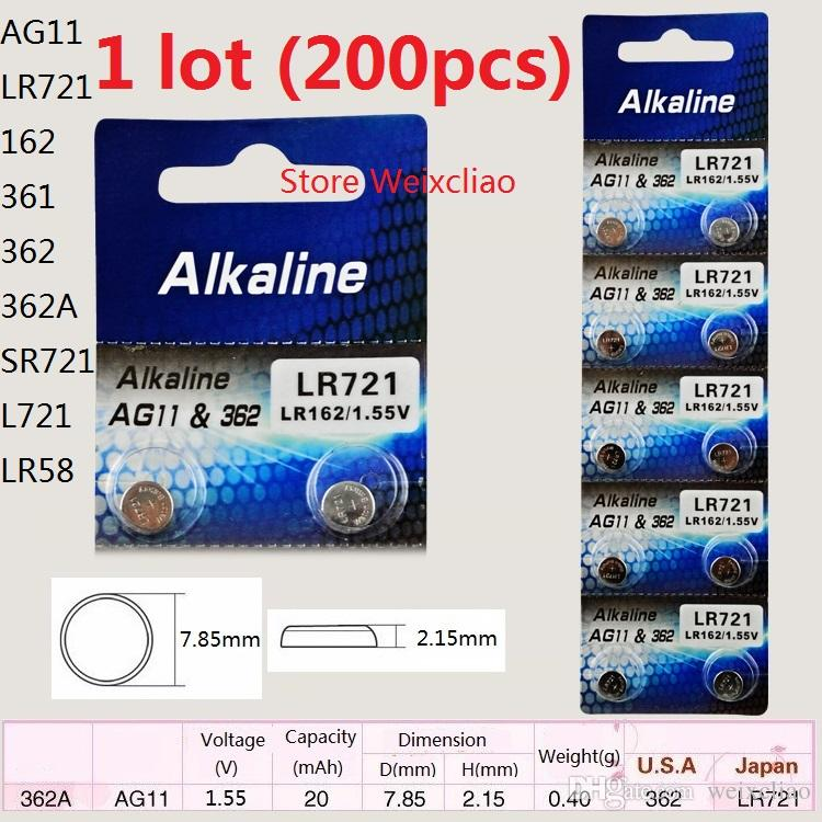 200 шт. 1 лот AG11 LR721 162 361 362 362A SR721 L721 LR58 1.55 В щелочные кнопки батареи монета батареи Бесплатная доставка