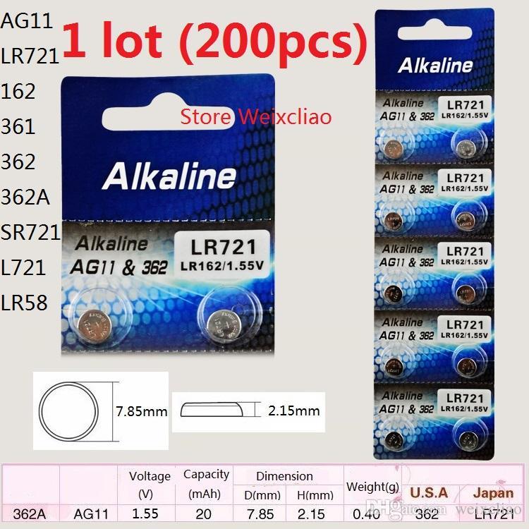 200 pz 1 lotto AG11 LR721 162 361 362 362A SR721 L721 LR58 1.55 V batterie a bottone alcalino batteria a bottone Spedizione Gratuita
