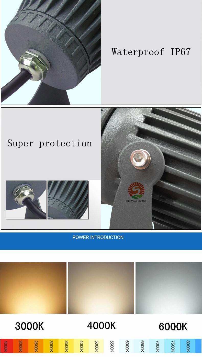 Angle précis pointu étanche Projecteur LED extérieur Lampes à gazon LED 1W 10W 30W Projecteur LED
