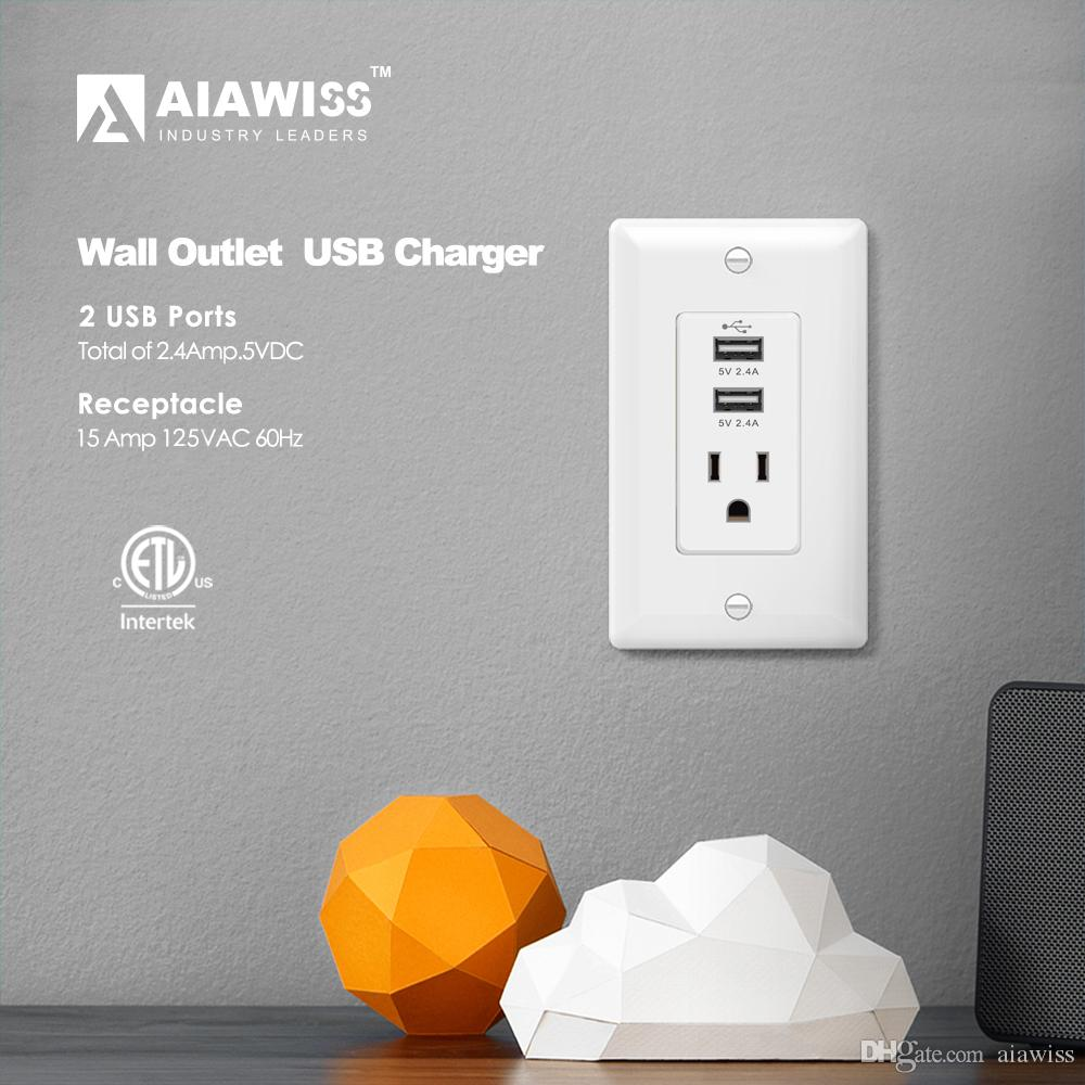 Aiawiss Awus003 Dual Usb Charger Outlet 2.4a 12w Ultra High Speed/1 ...