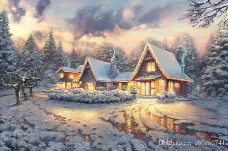 Christmas Lodge Limited Edition Thomas Kinkade Oil Paintings Art Wall Modern Hd Print On Canvas Decoration No Frame
