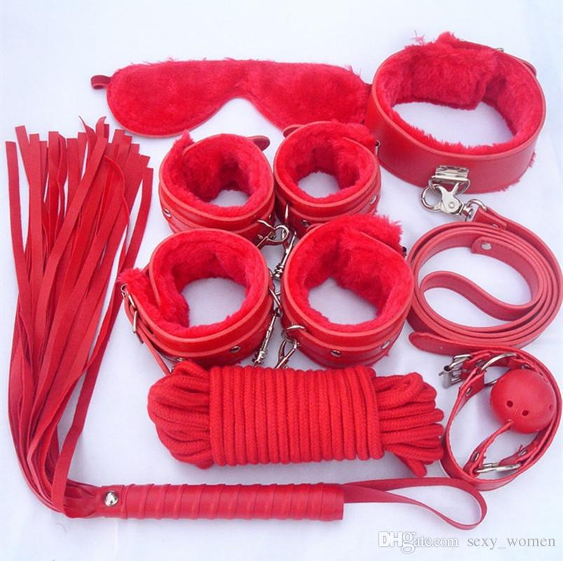 S001 Bondages sex toys Bondage Kit Set BDSM Roleplay Handcuffs Whip Rope Blindfold Ball Gag Black/Red/Pink/Purple Slave Bondage Kit