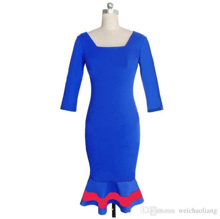 Nice Womens Elegant V Back Square Neck Colorblock Mermaid Work Office Party Evening Sheath Pencil Bodycon Midi Dress