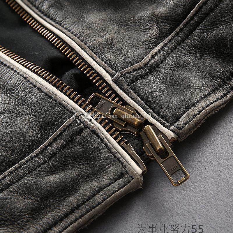 Chegada nova costumes Americanos Jaquetas de motocicleta AVIREX FLY jaquetas de couro genuíno India head Bordado jaqueta de volta