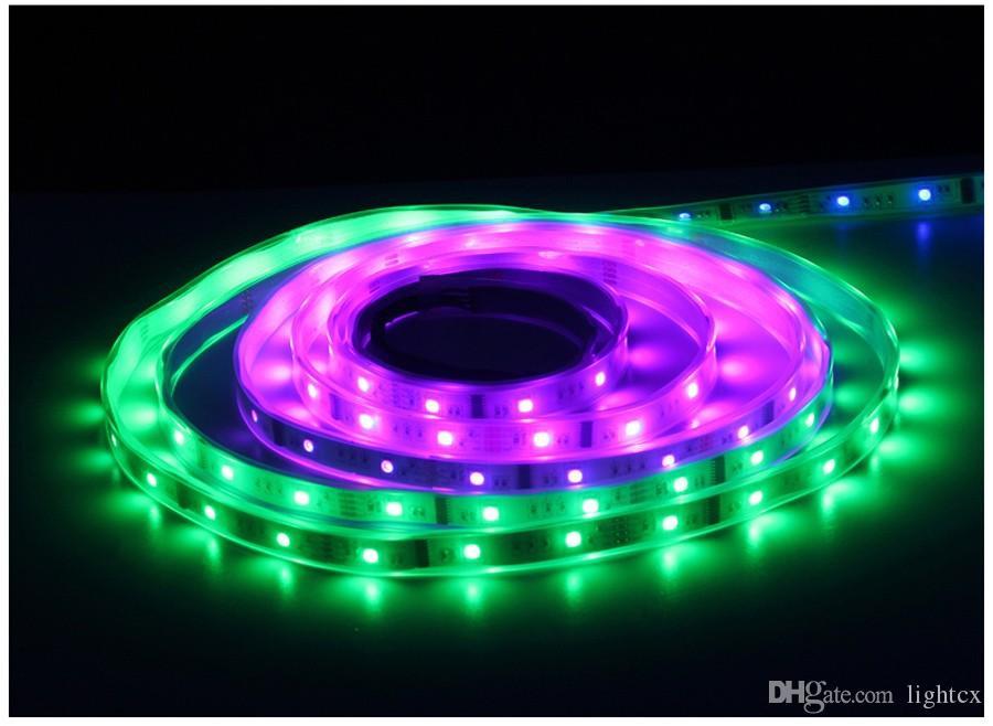 DC 12V 6803 디지털 IC 133 마법의 드림 컬러 5m LED 유연한 RGB 스트립 빛 30led / M IP67 튜브 방수 SMD 5050 램프