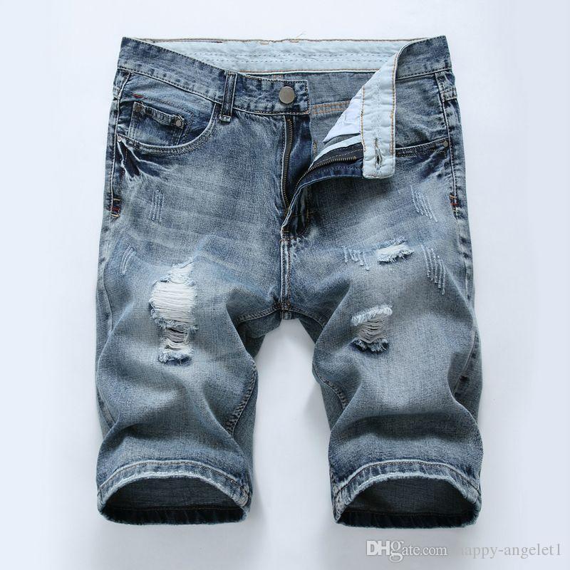 남성 청바지 2017 여름 캐주얼 남자 청바지 반바지 높은 품질 패션 무릎 길이 찢어진 된 진 남자에 대 한 브랜드 바지 반바지
