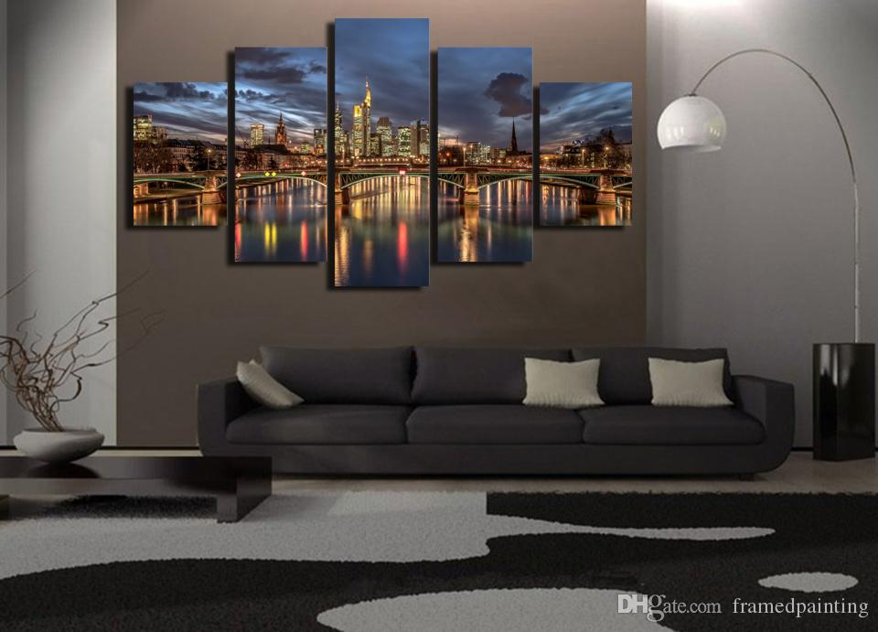 Framed HD Printed London City Night Light Picture Wall Art Canvas Print Room Decor Poster Canvas Painting