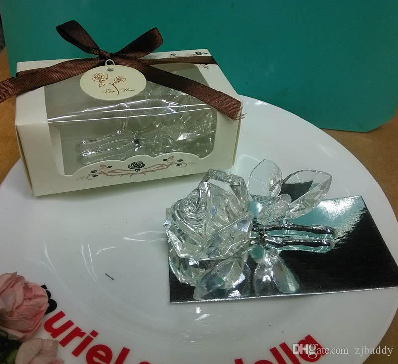 Wedding Gifts And Souvenirs For Guest Crystal Rose With Three Pcs