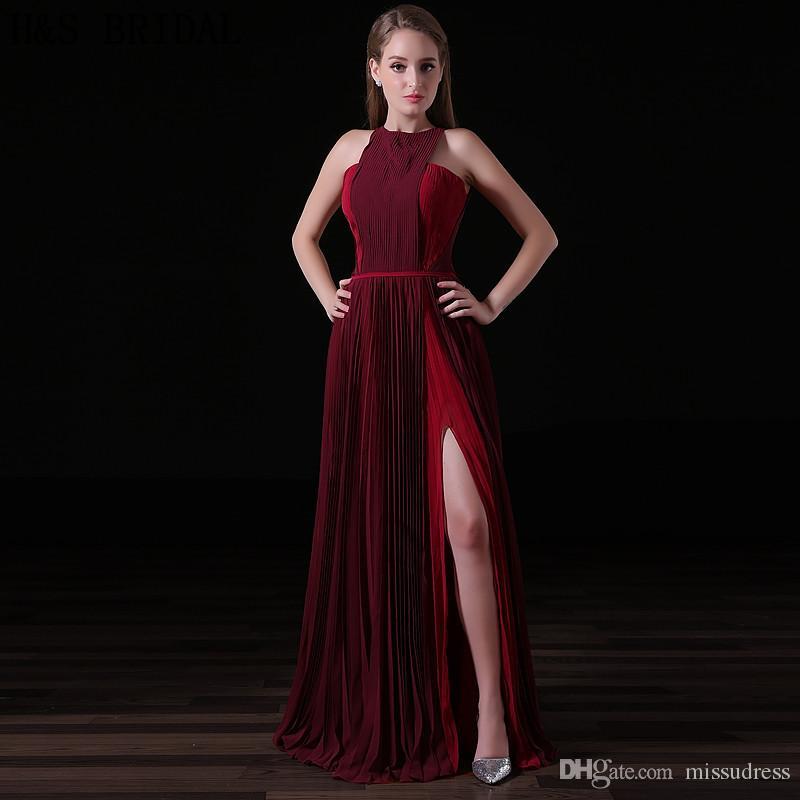 2017 부르고뉴 쉬폰 롱 이브닝 드레스 홀터넥 패션 여성 공식 가운 싸구려 크레페 섹시 슬릿 저녁 파티 댄스 파티 드레스 A019
