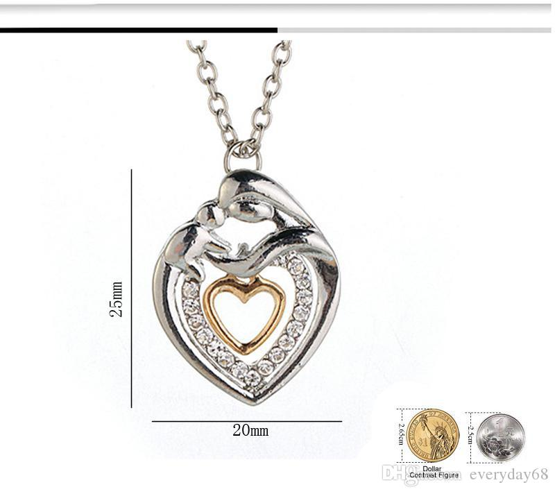 Mom And Baby Necklace Mother's Day Gift Mother Mum Son Daughter Child Crystal Rhinestone Heart Shaped Pendant Necklace For Women