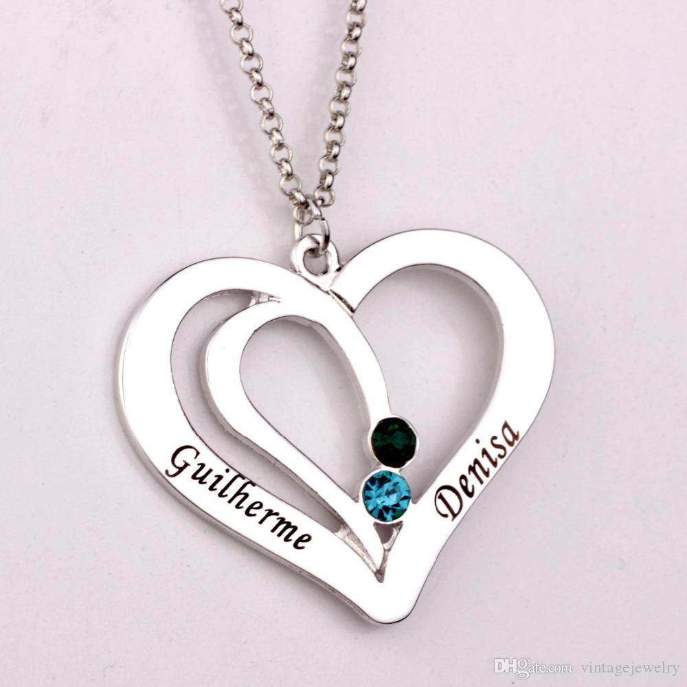 Wholesale Engraved Couples Necklace 2016 Personality Birthstone ...