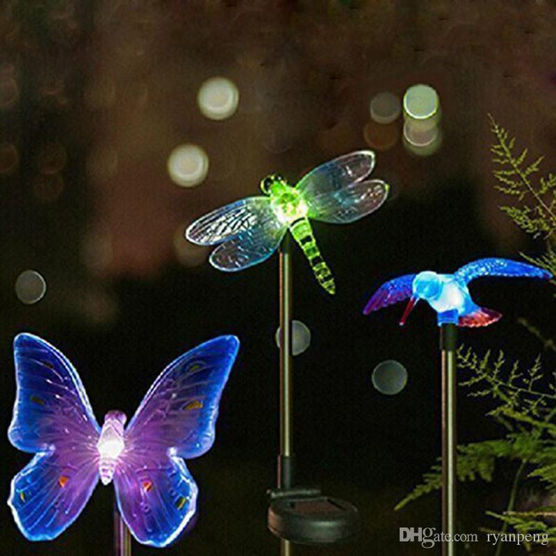 2018 Solar Outdoor Lights Garden Hummingbird Dragonfly Butterfly