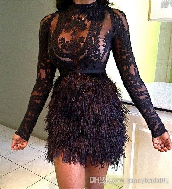 Design Fashion Christmas Feather Cocktail Dresses Black Celebrity Evening Dresses Mini Long Sleeves Short Party Prom Dress Vestidos 2017