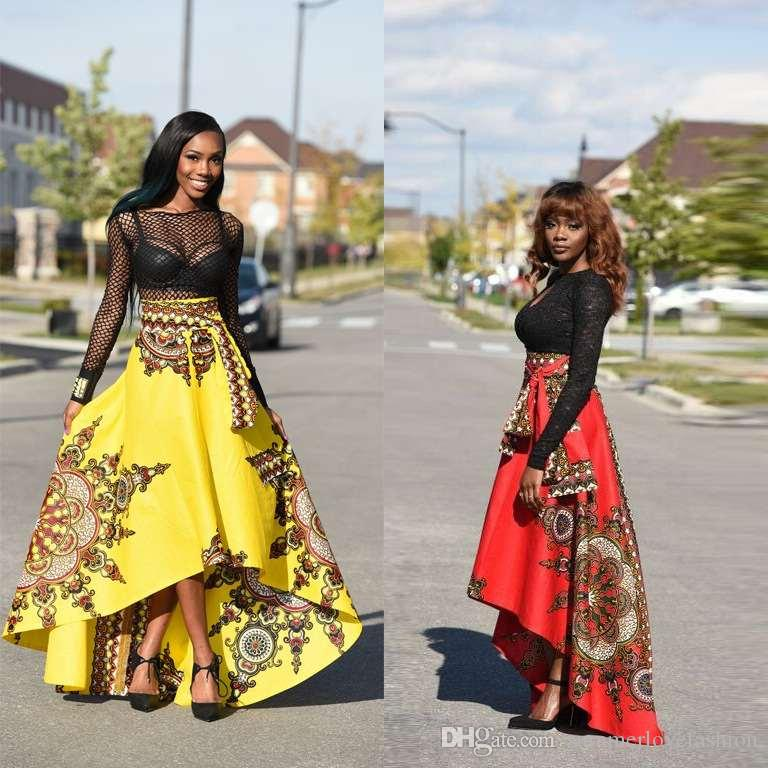 fef7cb735a7 Women Africa Floral Print High Low Prom Dresses Long Sleeves Lace Evening  Dresses In Red And Yellow Dresses Women Dresses 2018 Online with  29.68  Piece on ...