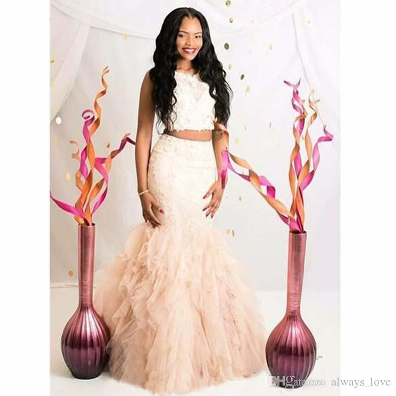 Beautiful Two Pieces Mermaid Prom Dress Cream Fuchsia Ruffle Backless Black Girls Women Wear Special Occasion Dress Evening Party Dress