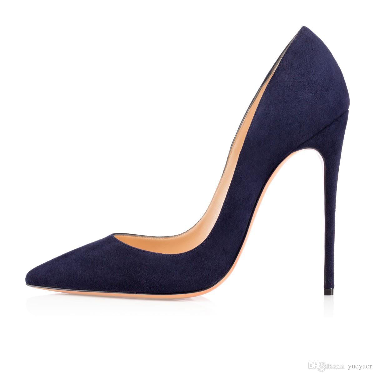 Zandina Ladies Handmade Fashion ASO-kate 120mm Punta a punta Classic Party Scarpe con tacco sottile a spillo Scarpe in pelle scamosciata blu Z62512