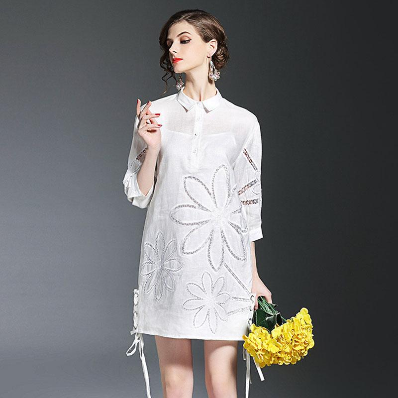 2ab433389e3 Europe Brand Fashion Woman Designer Runway Dress 2017 New Spring Dresses  Plus Size Hollow Embroidery Loose Casual Dress White